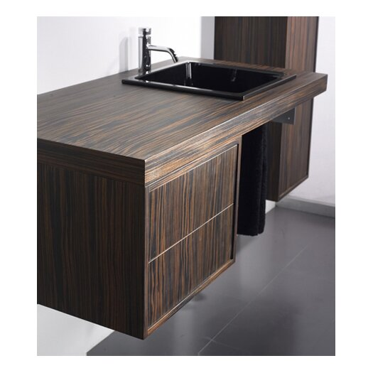 Whitehaus Collection Aeri Single Wood Unit Bathroom Vanity Set with Double Drawer