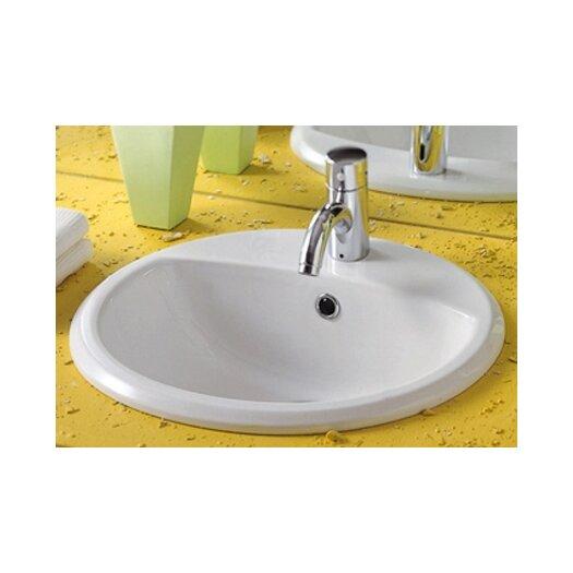 Whitehaus Collection China Blu Round Bathroom Sink with Overflow