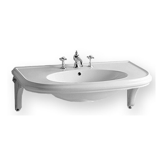 Whitehaus Collection China Wall Mount U-Shaped Bathroom Sink with Ceramic Shelf Supports