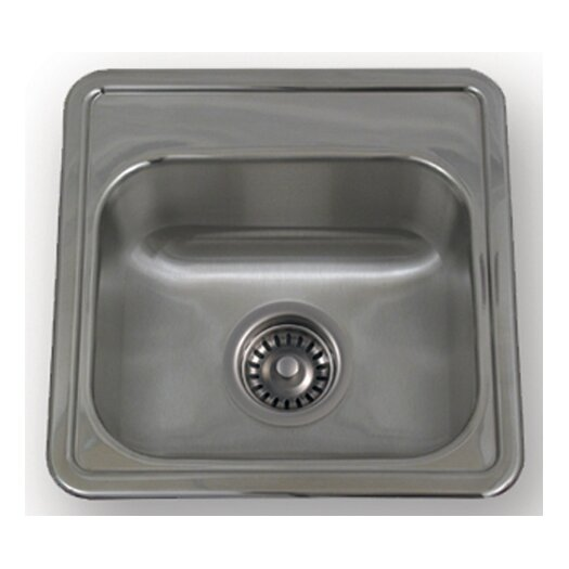 """Whitehaus Collection New England 15"""" x 15"""" Drop-in Small Square Kitchen Sink"""