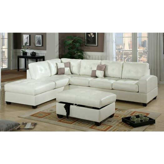 Poundex Sectional White Leather Sofa Chaise: Poundex Bobkona Reversible Chaise Sectional