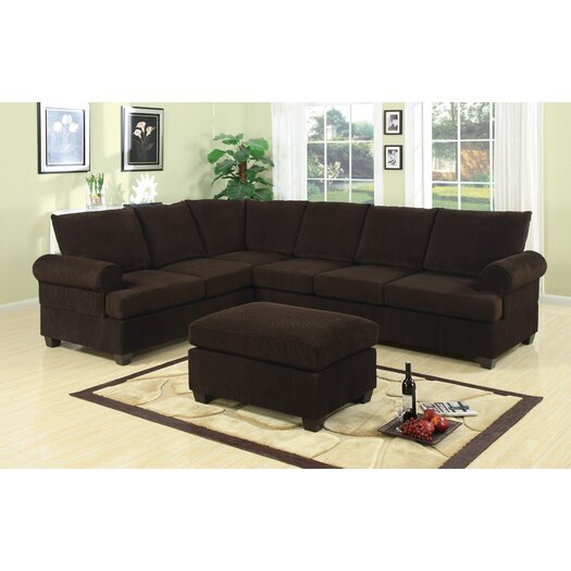 Poundex Bobkona Reversible Chaise Sectional