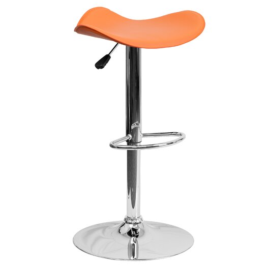 Flash Furniture Contemporary Adjustable Height Swivel Bar Stool with Cushion