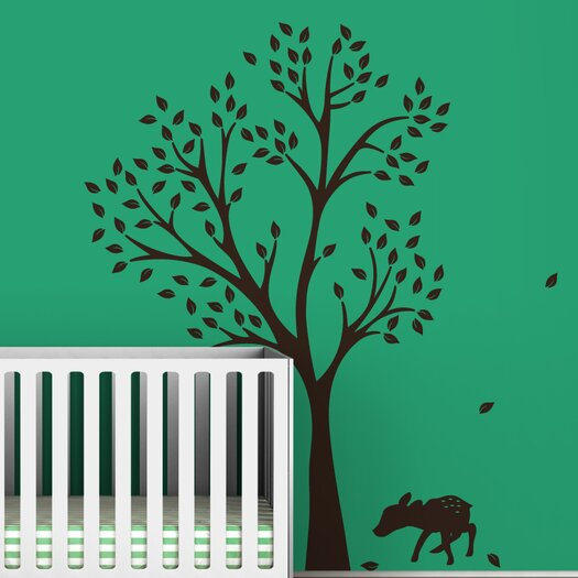 LittleLion Studio Trees Monochromatic Fawn Wall Decal