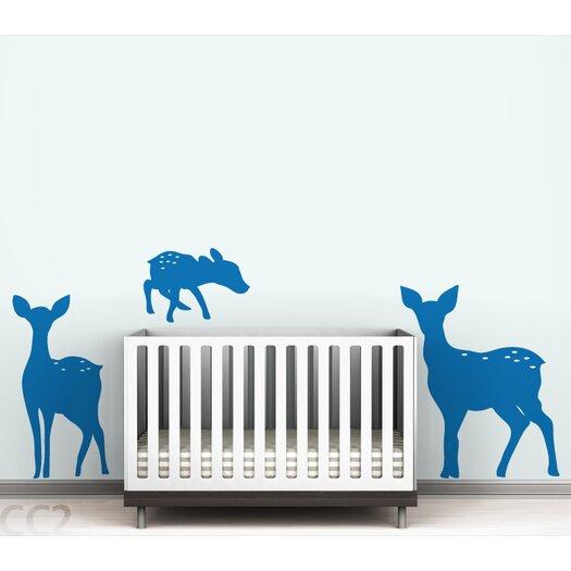 Fauna Deer Family Silhoutte Wall Decal