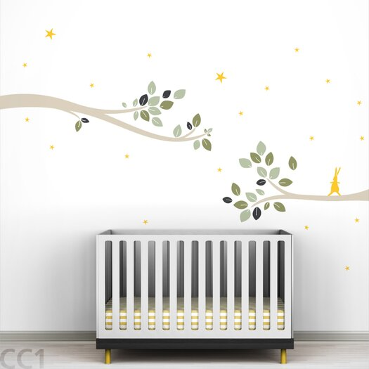 LittleLion Studio Tree Branches Follow the Little Rabbit Wall Decal