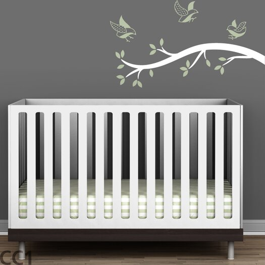 LittleLion Studio Tree Branches Polka Dot Birds Wall Decal