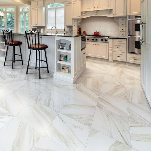 """Marazzi Timeless Collection 12.94"""" x 12.94"""" Porcelain Field Tile in Calacatta Pearl"""