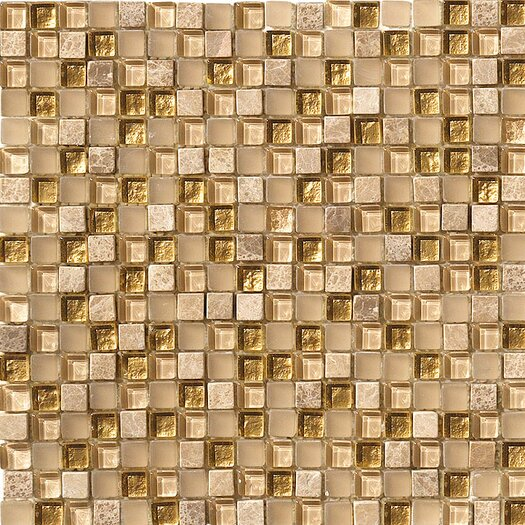Marazzi Crystal Glass and Stone Mosaic Tile in Gold