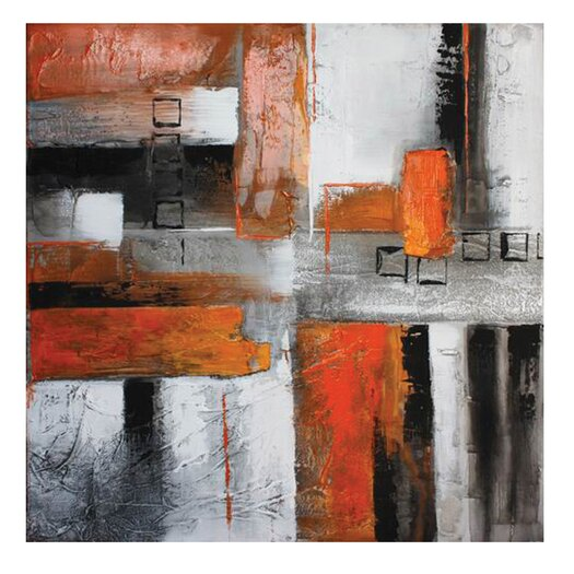 Moe's Home Collection Orange Abstract II Painting Print on Canvas