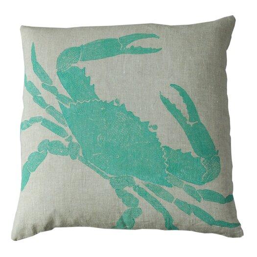 Big Crab Linen Throw Pillow