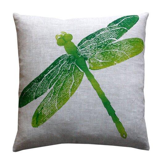 Entomology Dragon Fly Linen Throw Pillow