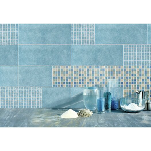 "Emser Tile Lucente 1"" x 1"" Glass Mosaic Tile in Ocean Mist and Crystal"