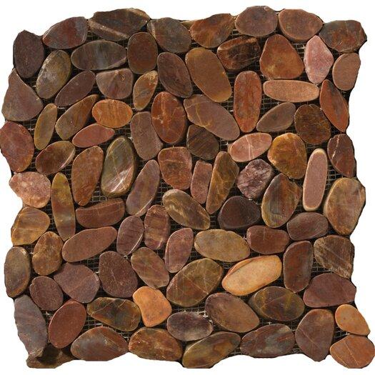 Emser Tile Natural Stone Random Sized Pebble Tile in Brown