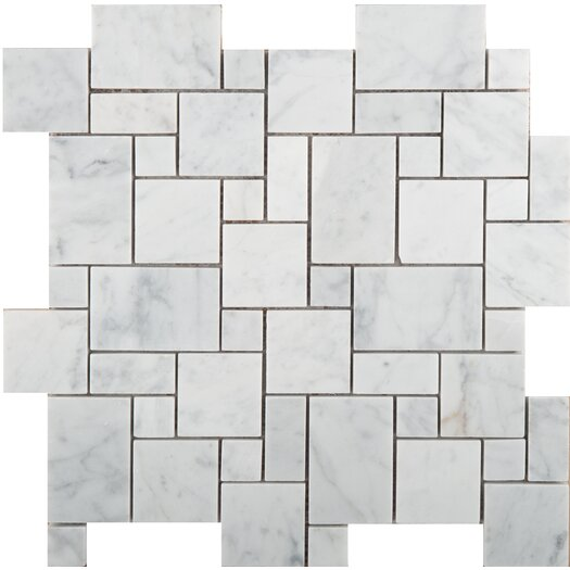 Emser Tile Natural Stone Versailles Random Sized Marble Mosaic Tile in Bianco Gioia