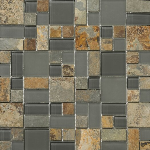 Emser Tile Lucente Random Sized Stone and Glass Mosaic Tile in Romano