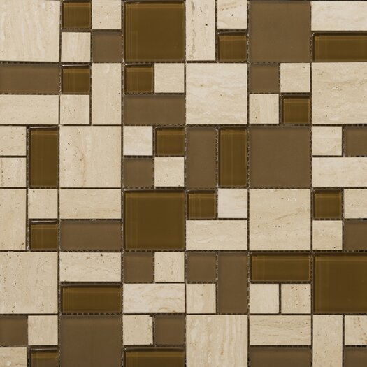 Emser Tile Lucente Random Sized Stone and Glass Mosaic Tile in Tromba