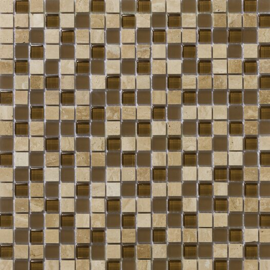 "Emser Tile Lucente 0.63"" x 0.63"" Stone and Glass Mosaic Tile in Tromba"