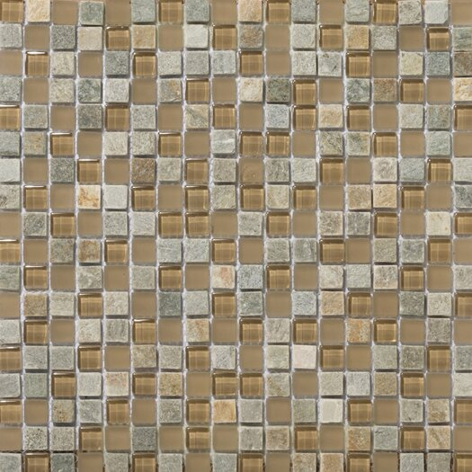 "Emser Tile Lucente 0.63"" x 0.63"" Stone and Glass Mosaic Tile in Putini"
