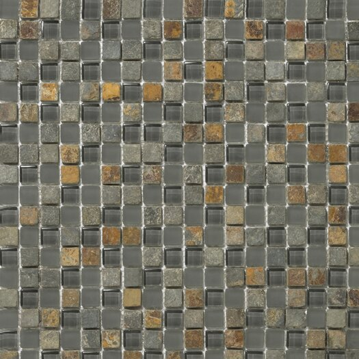 "Emser Tile Lucente 0.63"" x 0.63"" Stone and Glass Mosaic Tile in Romano"