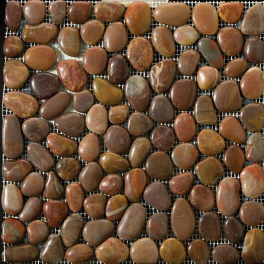 Emser Tile Natural Stone Random Sized Pebble Tile in Terra Cotta