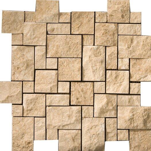 Emser Tile Natural Stone Random Sized Travertine Mosaic Tile in Beige