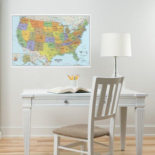 WallPops! USA Dry-Erase Map Wall Mural