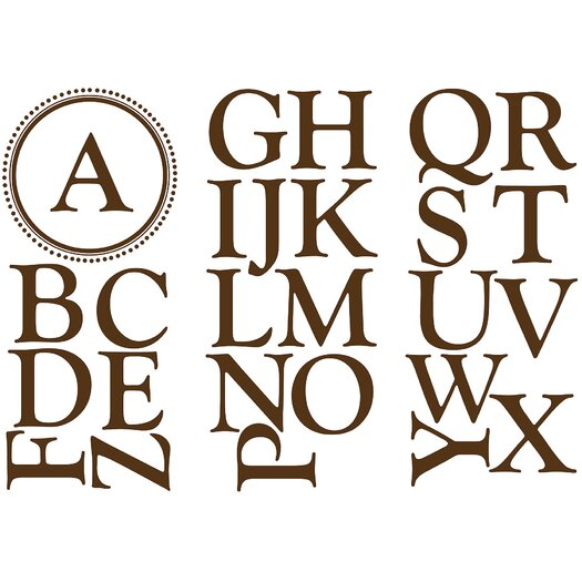 WallPops! WallPops Baby Sheets Durham Monogram and Alphabet Wall Decal