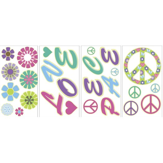 WallPops! MyStyle Glow in the Dark Peace Love Flowers Wall Decal Kit