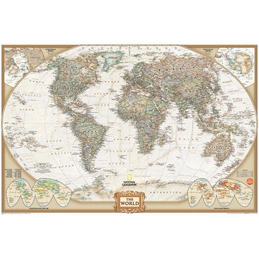 WallPops! Wall Art Kit National Geographic World Map Wall Mural
