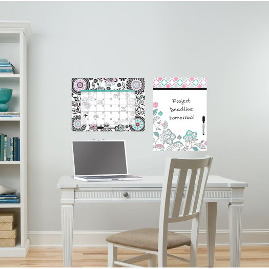 WallPops! Dry Erase Floral Medley Message and Calendar Whiteboard Wall Decal