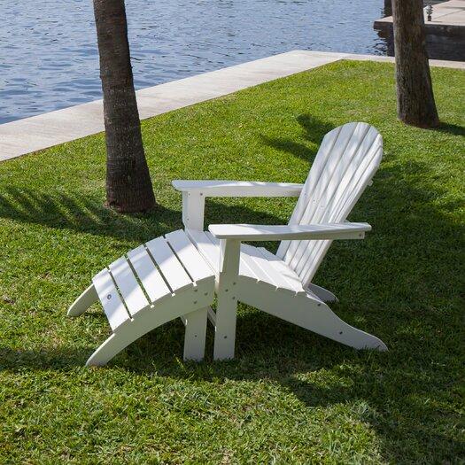 POLYWOOD® 2-Piece Polywood Adirondack Chair & Ottoman Set