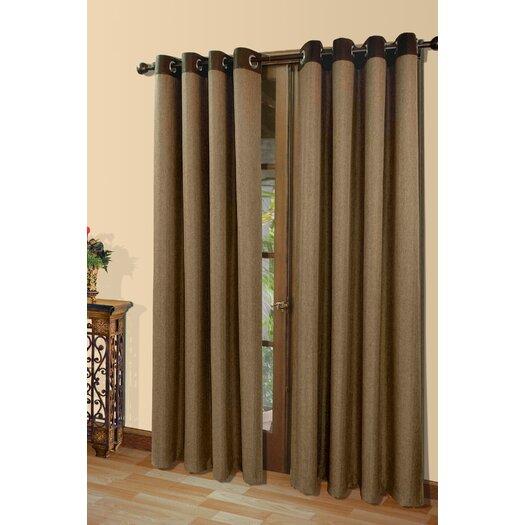Commonwealth Home Fashions Harrison A Herringbone Weave Grommet Menswear Fabric Single Curtain Panel