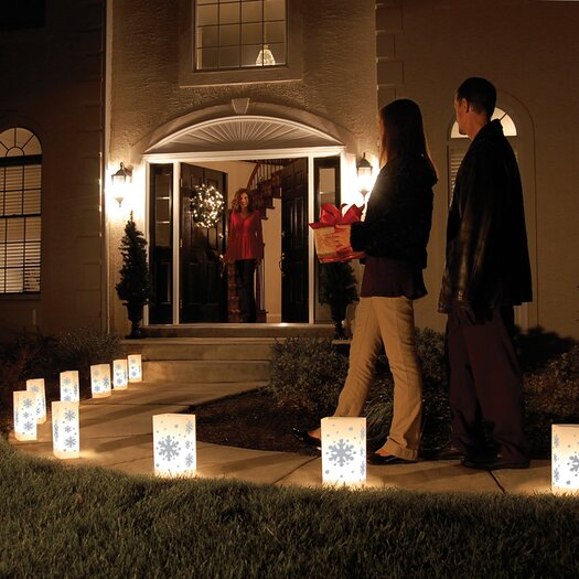 Luminarias Snowflake 10 Count Electric Luminaria Kit with Lumabases