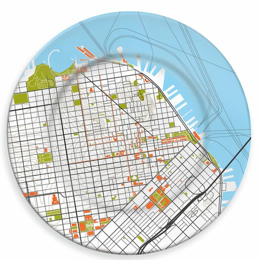 """notNeutral City on a Plate 12"""" San Francisco Dinner Plate"""