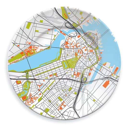 """notNeutral City on a Plate 12"""" Boston Dinner Plate"""
