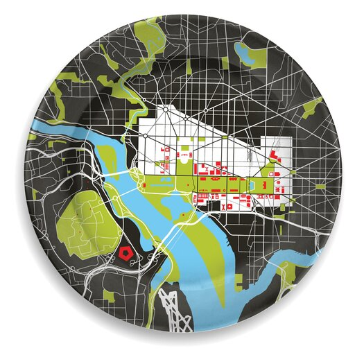 "notNeutral City on a Plate 12"" Washington D.C. Dinner Plate"