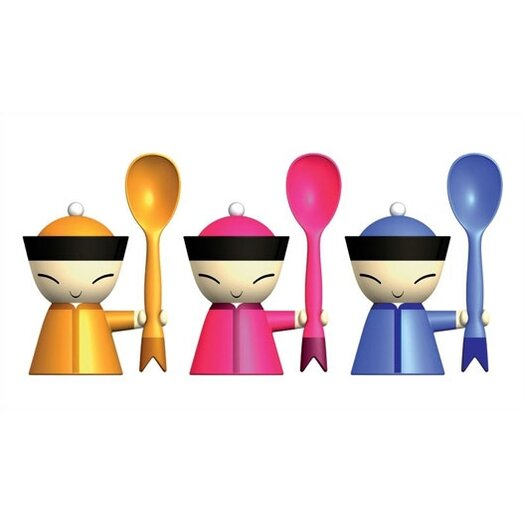 Alessi Mr. Chin Egg Cup with Salt Castor and Spoon by Stefano Giovannoni