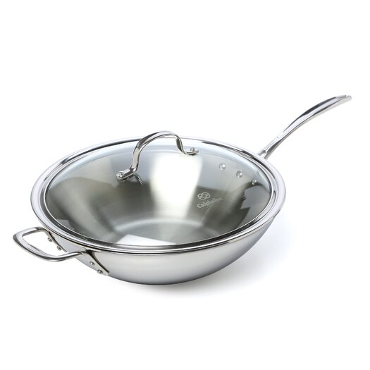 """Calphalon Tri-Ply Stainless Steel 12"""" Stir Fry & Cover"""