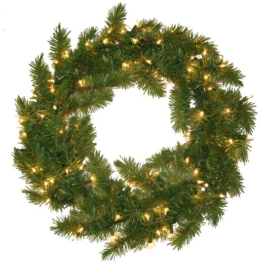 General Foam Plastics Evergreen Fir Wreath with 100 Clear Indoor/Outdoor Lights