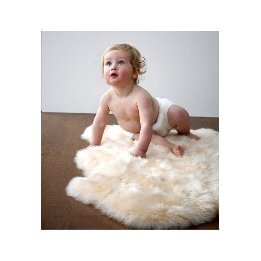 Elks & Angels Sheepskin Unshorn Lambskin Cream Solid Area Rug