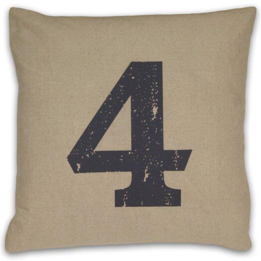 DR International Numeral 4 Linen Throw Pillow