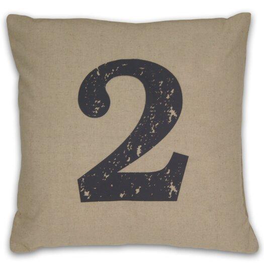 DR International Numeral 2 Linen Throw Pillow