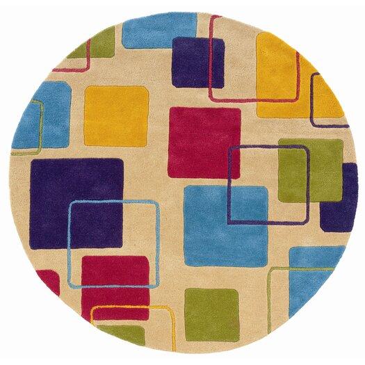 LR Resources Vibrance Ivory Geometric Squares Rug
