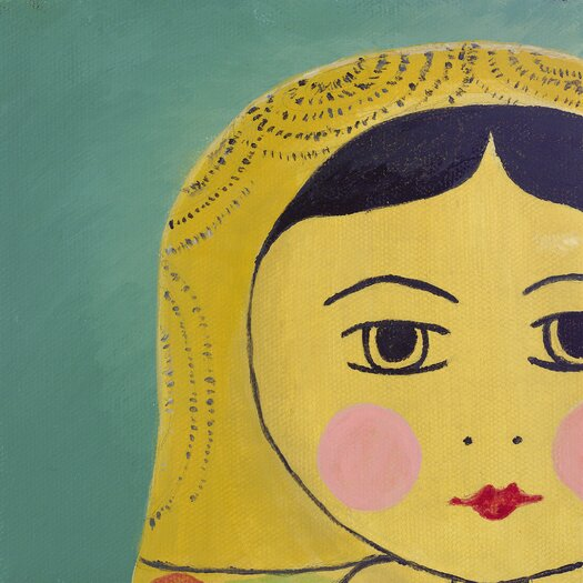 emma at home by Emma Gardner Matryoshka Tiny Face Giclee Painting Print on Wrapped Canvas