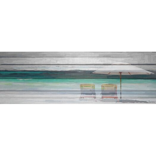 By the Beach - Art Print on White Pine Wood