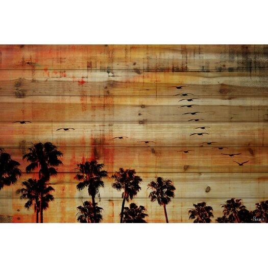 Ocean Trails - Art Print on Natural Pine Wood