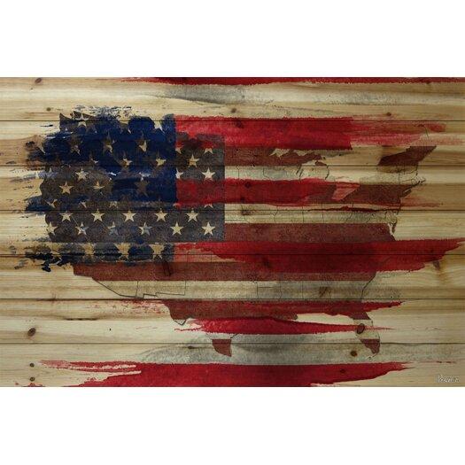 American Map - Art Print on Natural Pine Wood