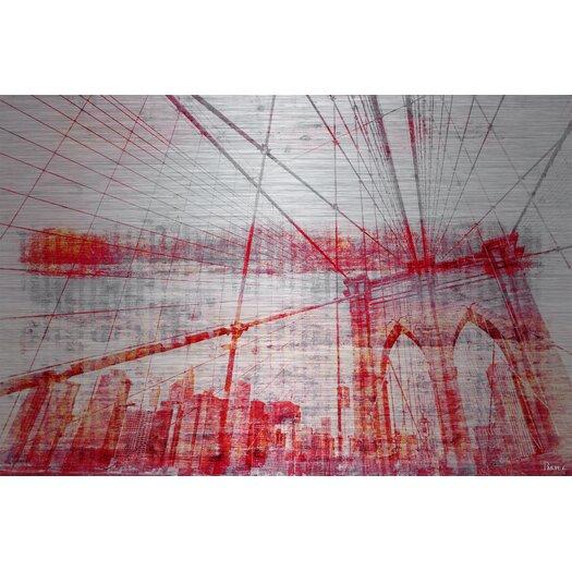 Brooklyn Bridge Graphic Art Print on Brushed Aluminum