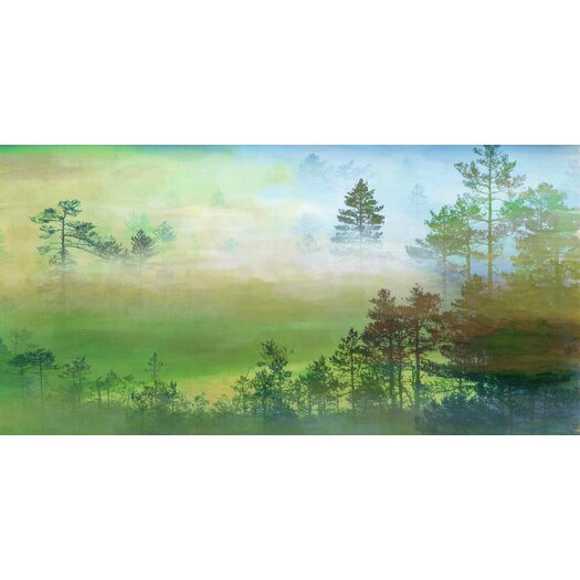 Misty Pine Forest Graphic Art on Wrapped Canvas
